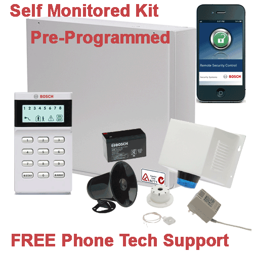 Home Alarm Self Monitored Kit - Free Phone Tech Support, $638.00, Bosch on